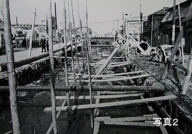 旧向島区の地蔵橋(高木神社入口交差点)〜鶴土手橋間の埋立工事中の様子''